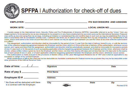 SPFPA Authorization for Check Off of Dues form