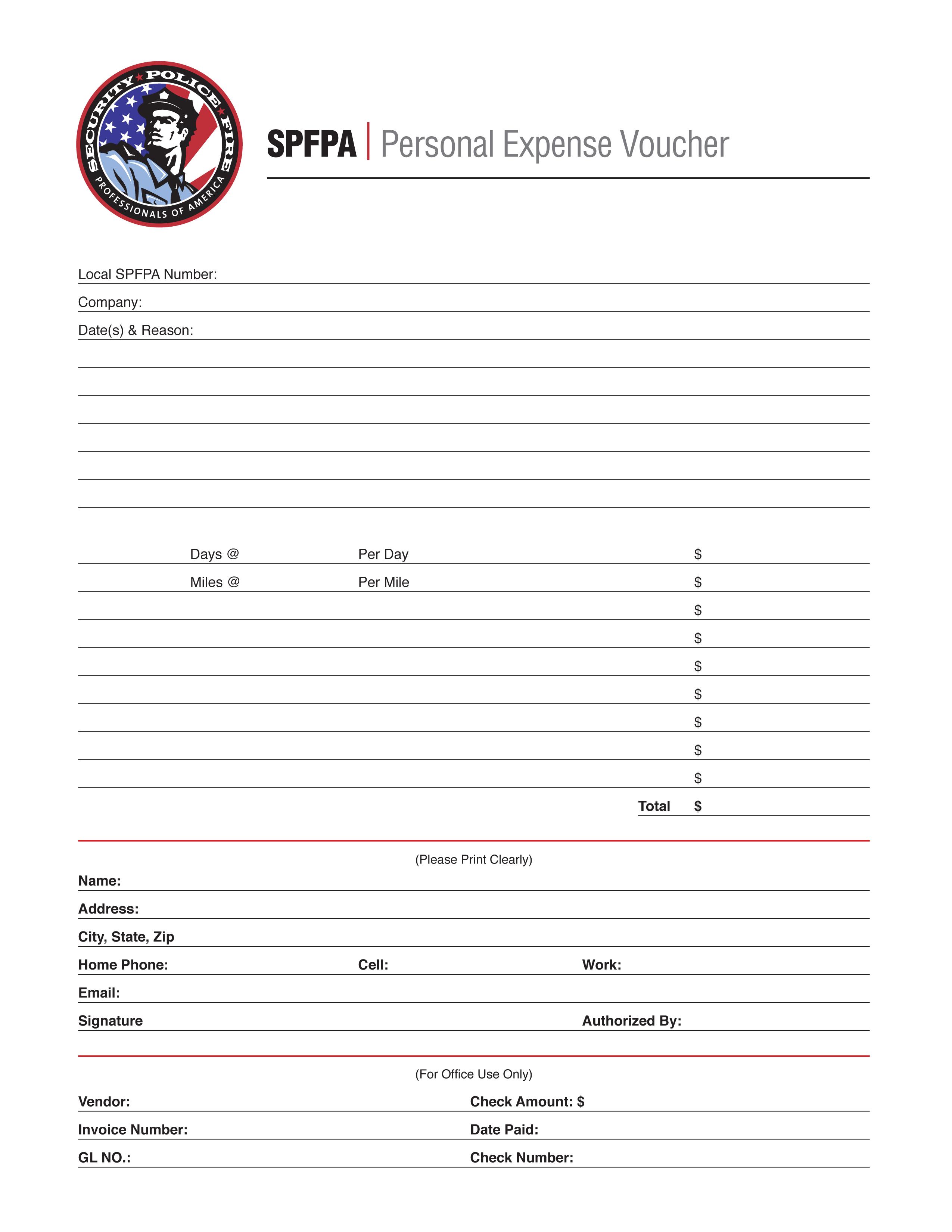 SPFPA– Personal Expense Voucher