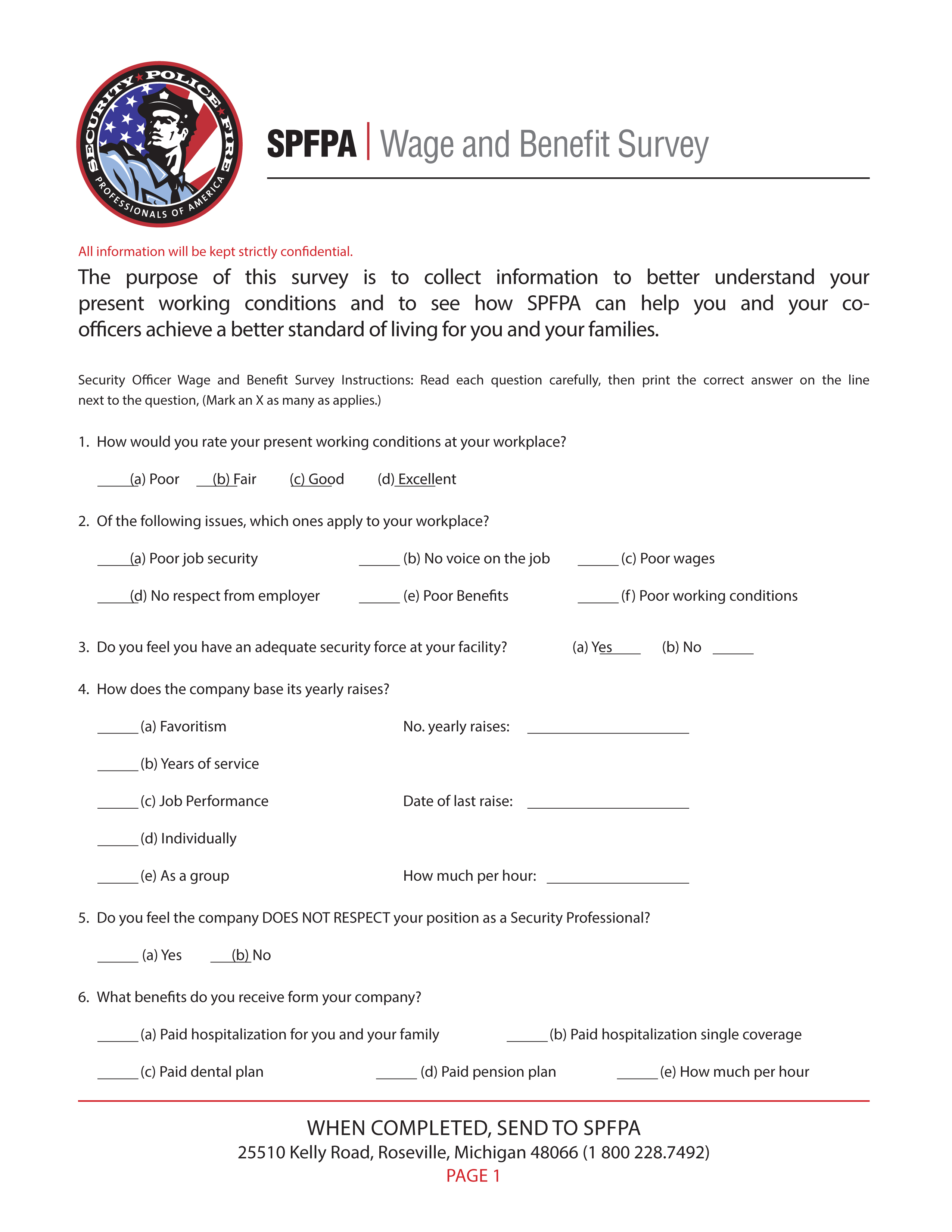 SPFPA– Wage and Benefit Survey Forms