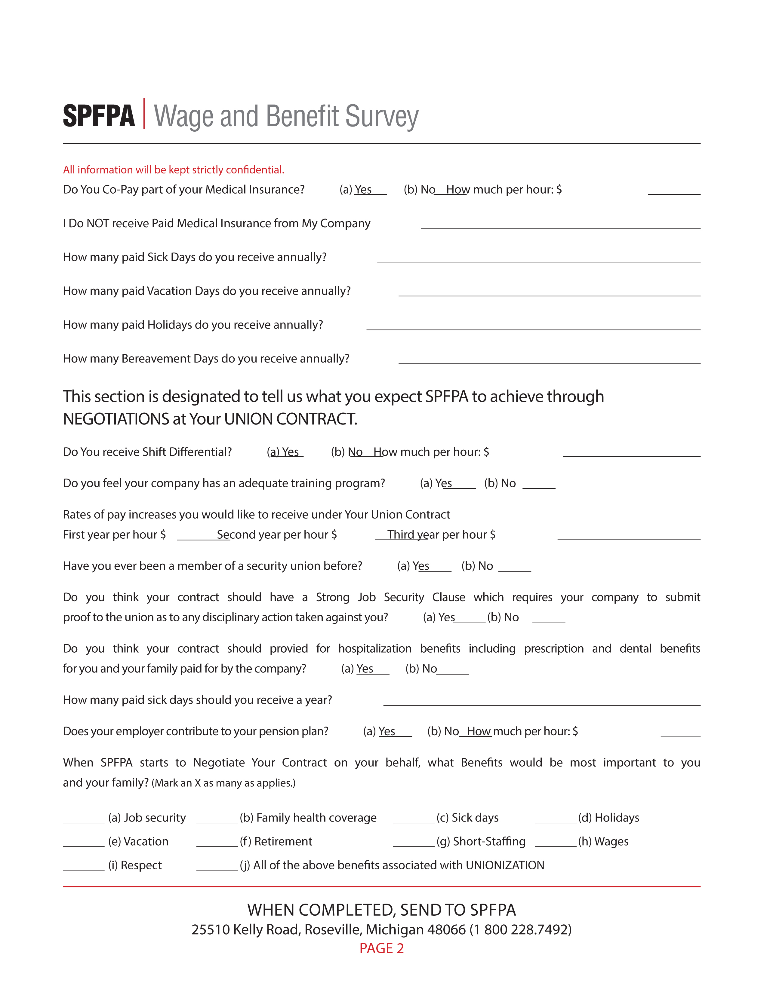 SPFPA– Wage and Benefit Survey